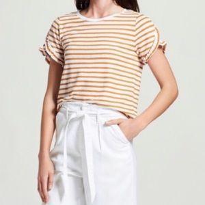 A New Day Orange/White Striped Ruffle Sleeve Top